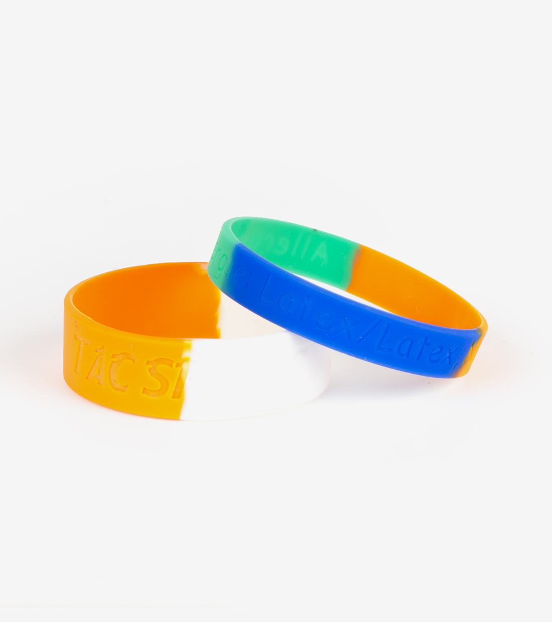 debossed silicone wristbands with segmented effect