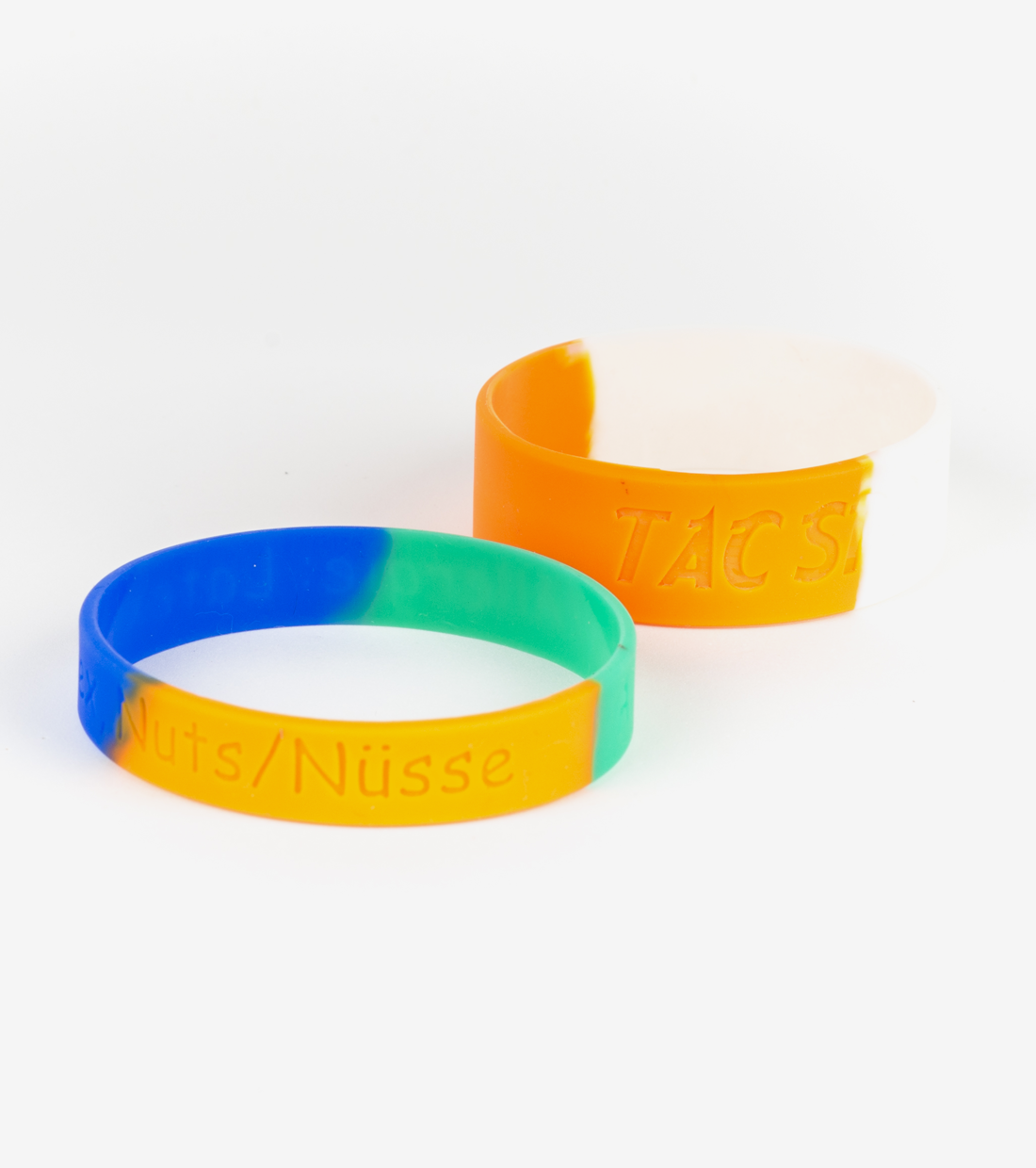 Debossed and Segmented Silicone Wristbands