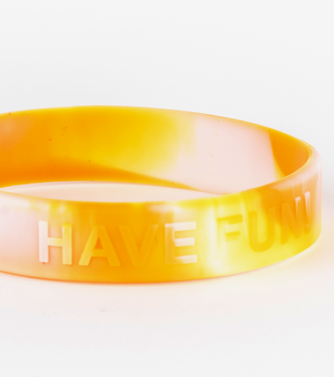 Embossed and Swirl Silicone Wristband Upclose